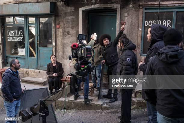 Actress Bennu Yildirimlar waits between takes on the set of Turkish TV Drama Kadin produced for FOX on March 29 2019 in Istanbul Turkey In recent...
