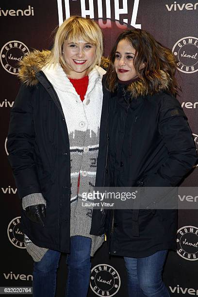 Actress Berangere Krief and Alice Essaidi attend the Photocall 'Le Jamel Comedy Club prend de l'Altitude' at Le Signal at a 2108 meter height during...