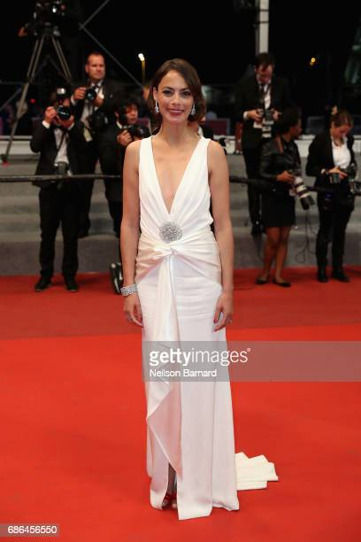 Actress Berenice Bejo departs the 'Redoubtable ' screening during the 70th annual Cannes Film Festival at Palais des Festivals on May 21 2017 in...