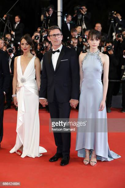 Actress Berenice Bejo Director Michel Hazanavicius and Stacy Martin attend the 'Redoubtable ' screening during the 70th annual Cannes Film Festival...
