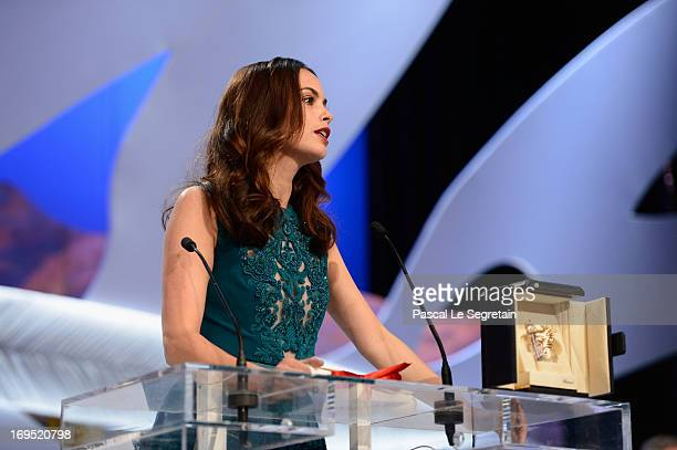 Actress Berenice Bejo speaks on stage after being awarded with the Prix d'Interpretation Feminine at the Inside Closing Ceremony during the 66th...