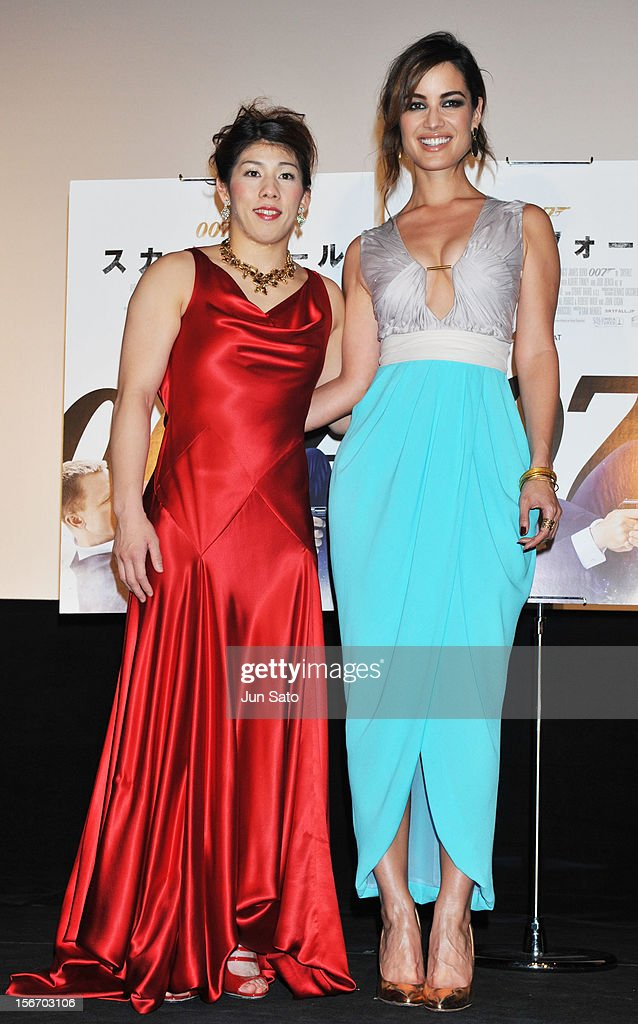 Actress Berenice Marlohe (R) and women's wrestling gold medalist Saori Yoshida appear on stage while attending the 'Skyfall' Japan Premiere at Toho Cinemas Nichigeki on November 19, 2012 in Tokyo, Japan. The film will open on December 1.