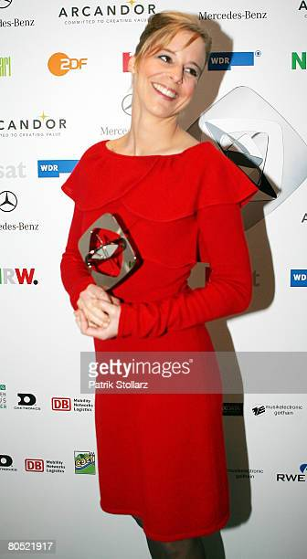 Actress Bernadette Heerwagen poses at the Adolf Grimme Awards on April 4, 2008 in Marl, Germany. Heerwagen received the award for her film 'An die...