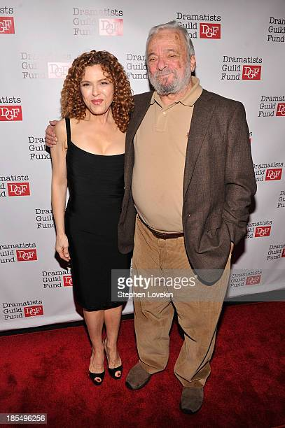Actress Bernadette Peters and composer Stephen Sondheim attend the Great Writers Thank Their Lucky Stars annual gala hosted by The Dramatists Guild...