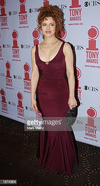 Actress Bernadette Peters poses for photographers at the 2002 Tony Awards June 3 2002 at Rockefeller Center in New York City