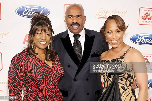 Actress Bernadette Stanis comedian Steve Harvey and Marjorie Harvey attend the 2nd annual Steve Harvey Foundation Gala at Cipriani Wall Street on...