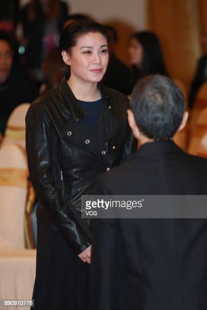 Actress Bernice Jan Liu attends the memorial service for Hong Kong film and television producer Mona Fong on December 12 2017 in Hong Kong China