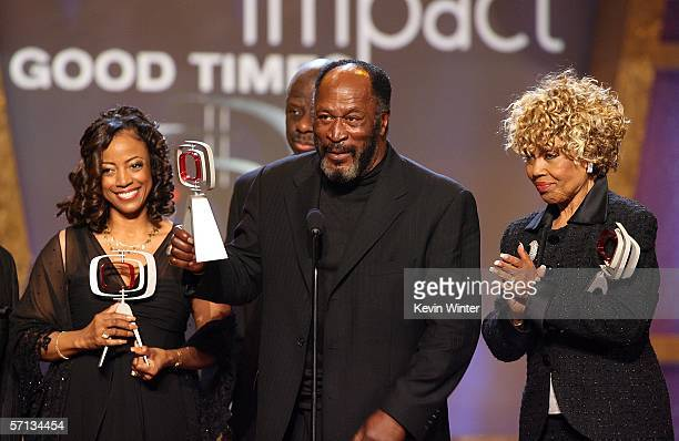 """Actress BernNadette Stanis, Actor John Amos, and Ja'net Dubois accept the Impact Award for """"Good Times"""" onstage at the 2006 TV Land Awards at the..."""