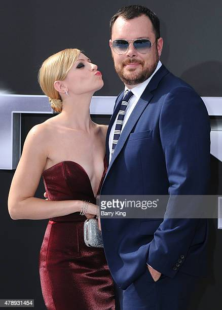 Actress Beth Behrs and actor Michael Gladis arrive at the Los Angeles premiere of 'Terminator Genisys' at the Dolby Theatre on June 28 2015 in...