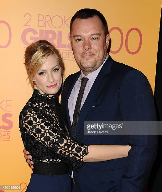 Actress Beth Behrs and actor Michael Gladis attend the 100th episode celebration of CBS' '2 Broke Girls' at Mrs Fish on October 3 2015 in Los Angeles...