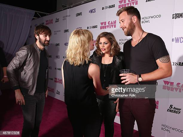 Actress Beth Behrs backstage with singer/songwriters Dave Haywood Hillary Scott and Charles Kelley from the band Lady Antebellum during CBS Radio's...