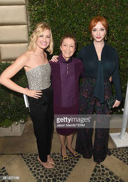 Actress Beth Behrs Gail Abarbanel President of The Rape Foundation and actress Christina Hendricks attend The Rape Foundation's annual brunch at...