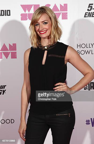 Actress Beth Behrs poses backstage during CBS Radio's We Can Survive at the Hollywood Bowl on October 24 2014 in Los Angeles California