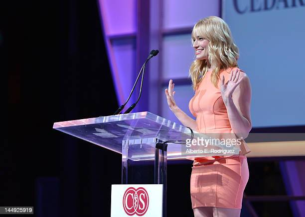 Actress Beth Behrs speaks onstage at the 27th Anniversary Sports Spectacular benefiting CedarsSinai Medical Genetics Institute at the Hyatt Regency...