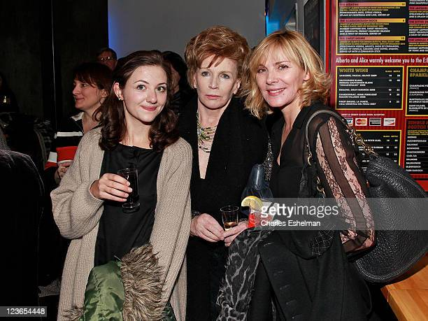Actress Beth Cooke playwright Edna O'Brien and actress Kim Cattrall attend the opening night of Haunted at 59E59 Theaters on December 8 2010 in New...