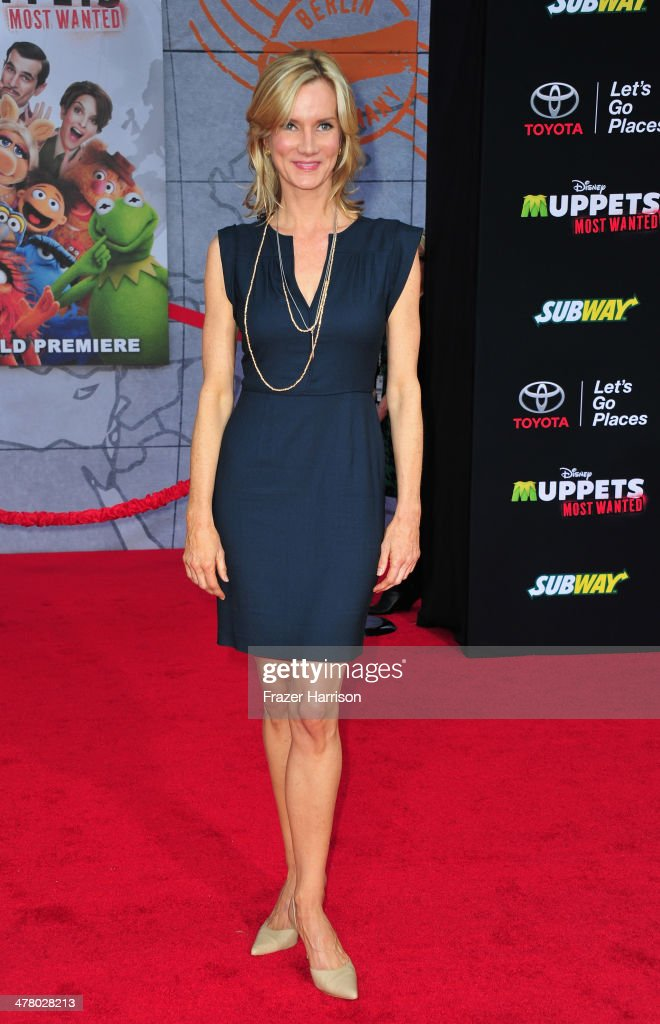 actress Beth Littleford arrives at the premiere Of Disney's 'Muppets Most Wanted' at the El Capitan Theatre on March 11, 2014 in Hollywood, California.