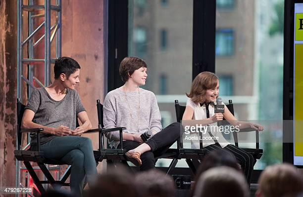 Actress Beth Malone Emily Skeggs and Sydney Lucas attends AOL Build to discuss their portrayal of Alison Bechdel in the Broadway Musical Fun Home at...