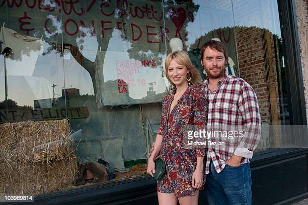 Actress Beth Riesgraf and producer Alan Smyth attend Current Elliot Confederacy and Vogue Present Fashion's Night Out at Confederacy on September 10...