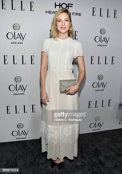 Actress Beth Riesgraf attends ELLE's 6th Annual Women in Television Dinner Presented by Hearts on Fire Diamonds and Olay at Sunset Tower on January...