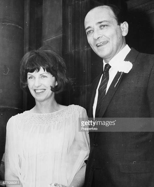 Actress Betsy Blair and her husband filmmaker Karel Reisz pictured following their wedding ceremony outside Paddington Registry Office London...