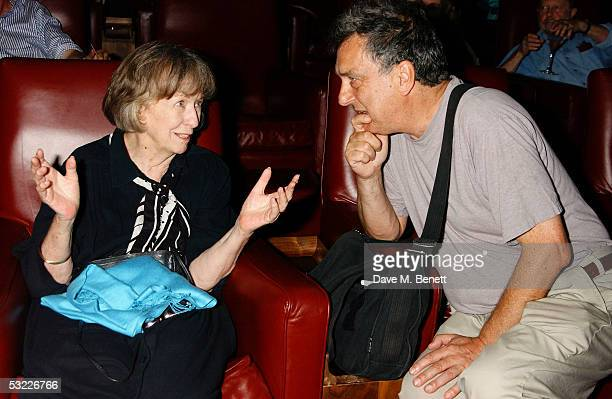 Actress Betsy Blair exwife of late actor Gene Kelly talks with director Stephen Frears during Jonny Lee Miller's Motorola Grand Classics Screening of...