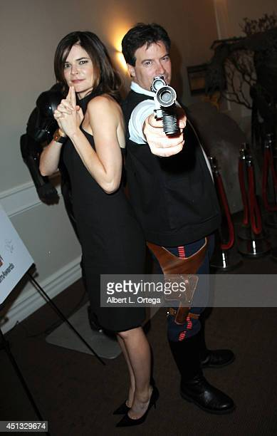 Actress Betsy Brandt and cosplayer Brian Sikoff as han Solo from 'Star Wars' attend the After Party for the 40th Annual Saturn Awards held at on June...