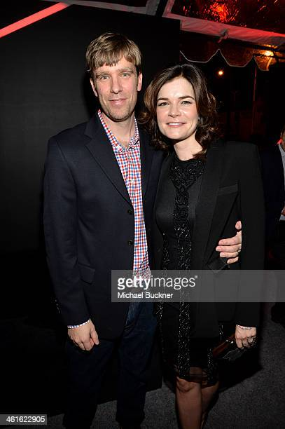 Actress Betsy Brandt and Grady Olsen attend Golden Globes Weekend Audi Celebration at Cecconi's on January 9 2014 in Beverly Hills California