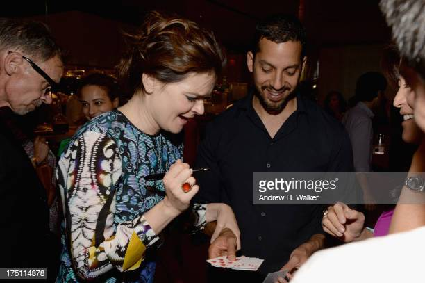 Actress Betsy Brandt and magician David Blaine attend the 'Breaking Bad' NY Premiere 2013 after party at Lincoln Ristorante on July 31 2013 in New...