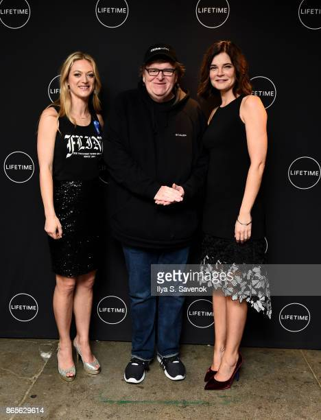 Actress Betsy Brandt filmmaker Michael Moore and Marin Ireland attend Lifetime and NeueHouse Women's Forum Present FLINT with cast and real life...
