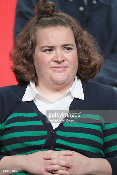 Actress Betsy Sodaro speaks onstage at the 'Animal Practice' panel during day 4 of the NBCUniversal portion of the 2012 Summer TCA Tour held at the...