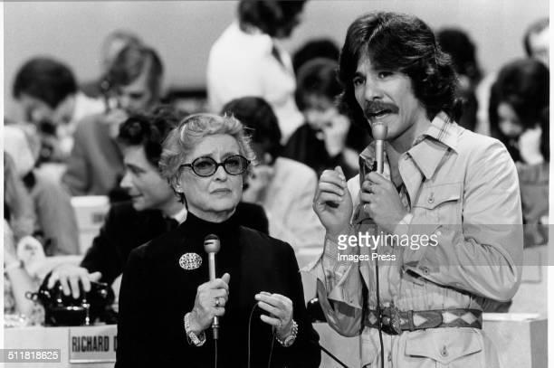 Actress Bette Davis and Geraldo Rivera at the WABCTV studios during a telethon in New York City circa 1973