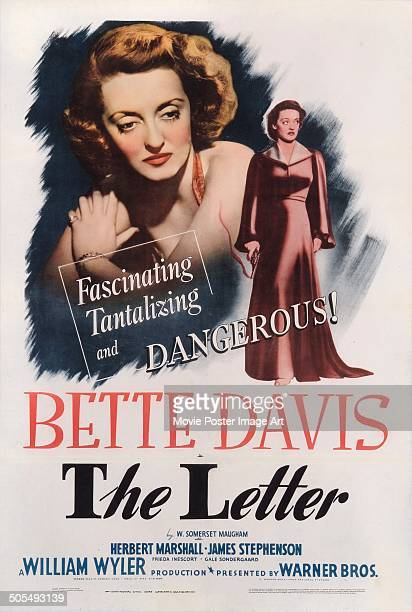 Actress Bette Davis features on a poster for the movie 'The Letter' 1940 The movie was directed by William Wyler and based on a story by W Somerset...