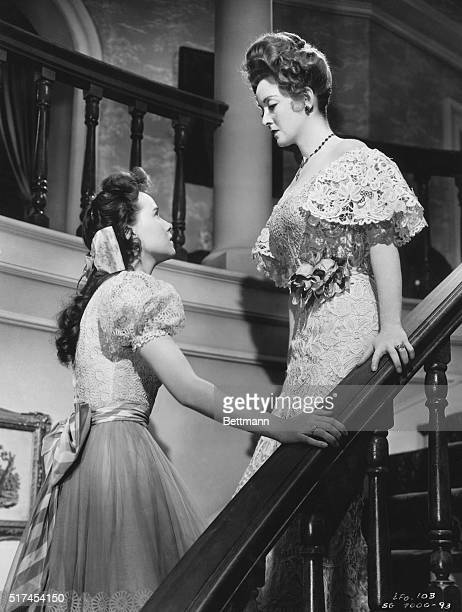 Actress Bette Davis on stairway with Teresa Wright in The Little Foxes