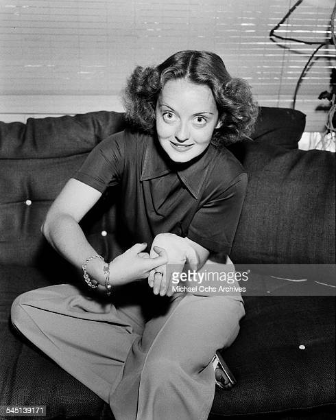 Actress Bette Davis poses at home in Los Angeles California
