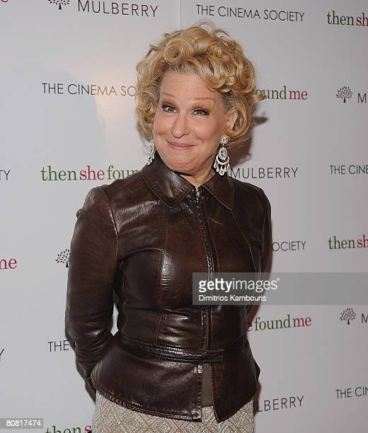 Actress Bette Midler arrives at the New York Premiere of THINKFilms thenshefoundme HOsted by The Cinema Society and Mulberry at the AMC Lincoln...
