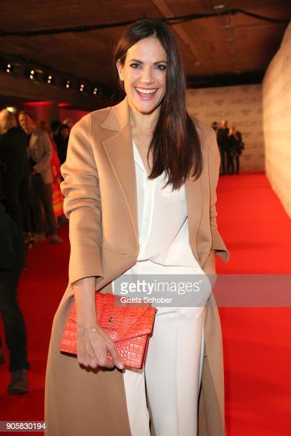 Actress Bettina Zimmermann wearing a suit by Marc Cain during the Marc Cain Fashion Show Berlin Autumn/Winter 2018 at metro station Potsdamer Platz...
