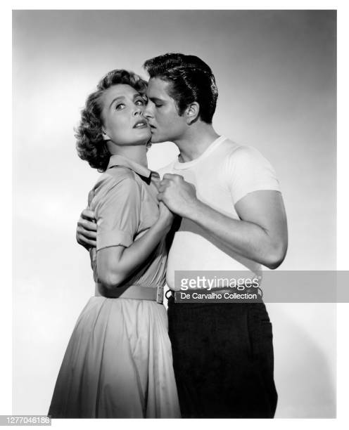 Actress Betty Garrett as 'Linda Atlas' and John Drew Barrymore as 'Jess Reber' in a publicity shot from the movie 'The Shadow on the Window' United...