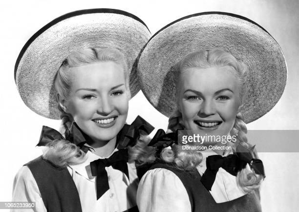 Actress Betty Grable and June Haver in a scene from the movie The Dolly Sisters