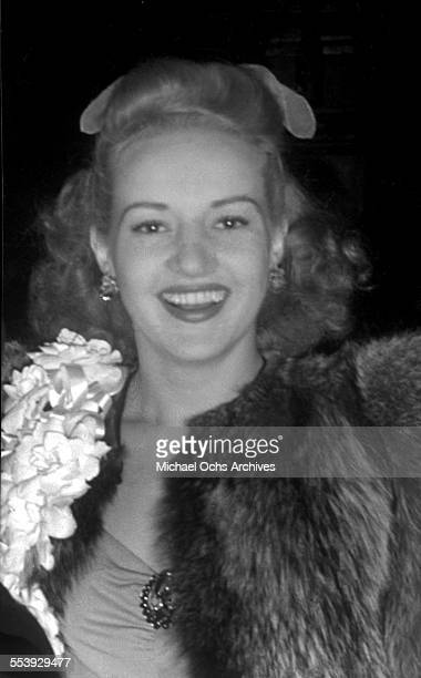 Actress Betty Grable smiles as she is photographed in Los Angeles California