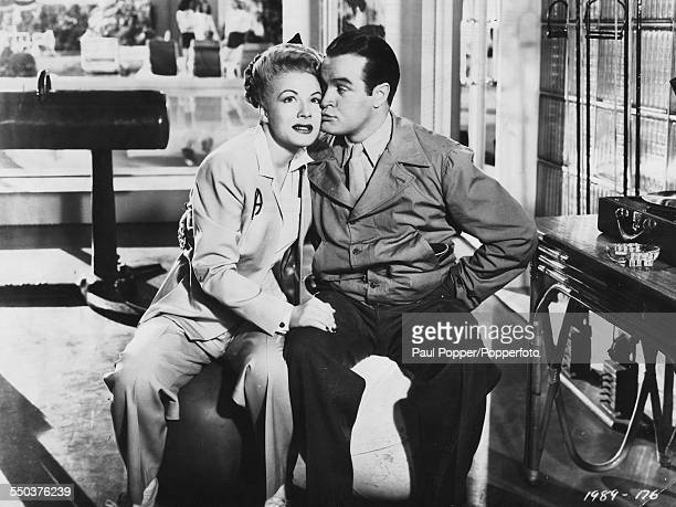 Actress Betty Hutton and entertainer Bob Hope pictured together in a scene from the film 'Let's Face It' 1943
