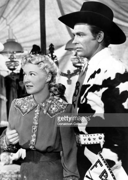 Actress Betty Hutton and Howard Keel in a scene from the movie Annie Get Your Gun