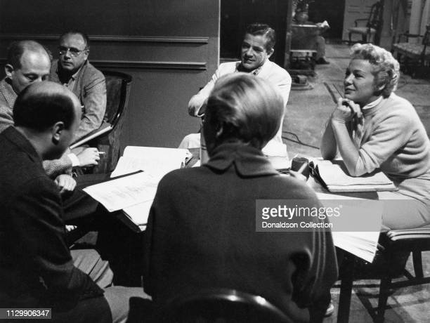 Actress Betty Hutton rehearsing with other actors in 1959