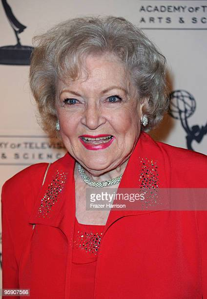 Actress Betty White arrives at the Academy Of Television Arts & Sciences' 19th Annual Hall Of Fame Induction at the Beverly Hills Hotel on January...