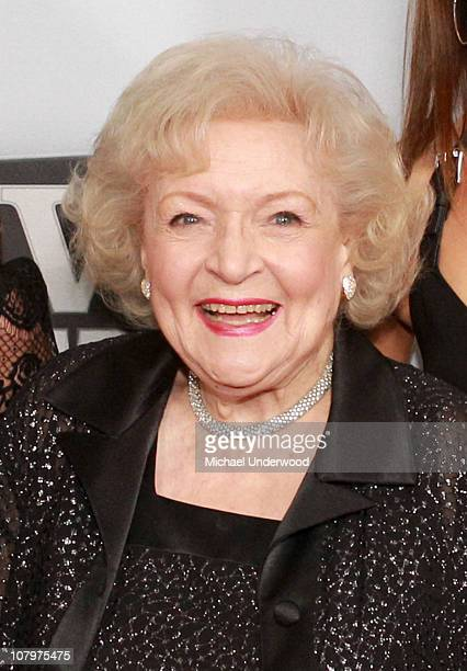 """Actress Betty White arrives at the """"Hot In Cleveland"""" and """"Retired At 35"""" premiere party at Sunset Tower on January 10, 2011 in West Hollywood,..."""