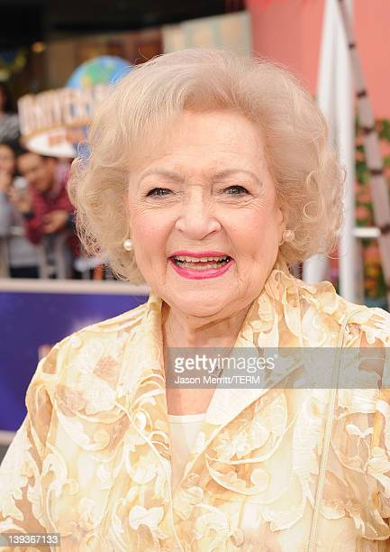 Actress Betty White arrives at the premiere of Universal Pictures and Illumination Entertainment's 3DCG 'Dr Seuss' The Lorax' at Citywalk on February...