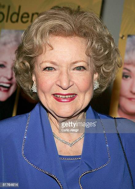 Actress Betty White arrives for the DVD release party for The Golden Girls the first season November 18 2004 in Los Angeles California