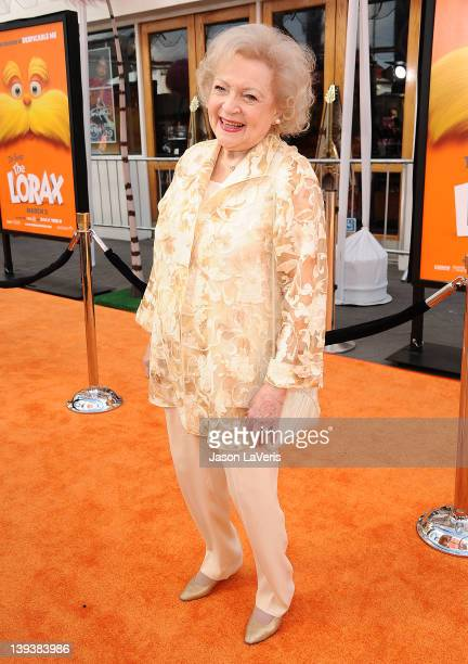 Actress Betty White attends the premiere of Dr Seuss' The Lorax at Universal Studios Hollywood on February 19 2012 in Universal City California