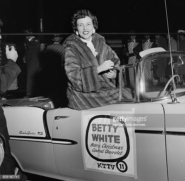 Actress Betty White is honored as she rides in a Chevrolet in the Chirstmas Parade in Los AngelesCA