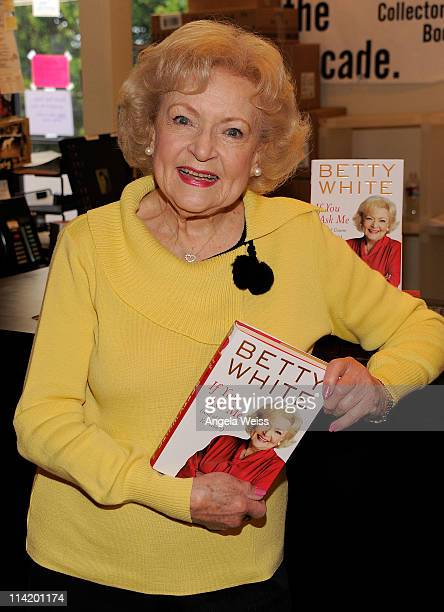 "Actress Betty White signs copies of her book ""If You Ask Me "" at Book Soup on May 15, 2011 in West Hollywood, California."