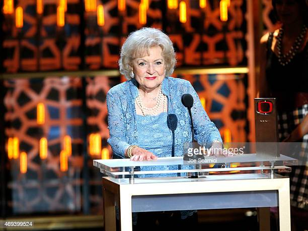 Actress Betty White speaks onstage during the 2015 TV Land Awards at Saban Theatre on April 11 2015 in Beverly Hills California